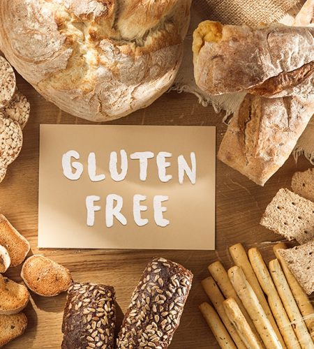 Gluten free food. Various pasta, bread and snacks